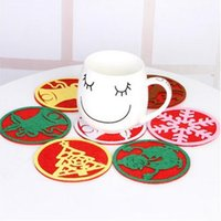 Wholesale Anti Skid Mats - Christmas Snowflake Cup Coaster Mat Anti-Skid Pad Table Placemat Xmas Home Décor Coffee Cup Mat OOA3127