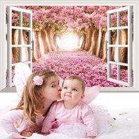 flor de cerejeira viva venda por atacado-Sea Lavender Cherry Blossom Romântico Rosa Flor Árvore Decalques em parede de janelas adesivos de parede para sala de estar Quarto
