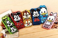 Wholesale Duck Iphone Cases - 3D Cartoon Minnie Mickey Mouse Donald Duck Silicone Cases Cover For iphone 4S 5S 6 4.7 plus 5.5 7 i7 S8