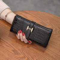 Wholesale Clutch Bags China - 2017 new lady wallet Korean version of the second draw with a female wallet crocodile pattern long wallet made in China