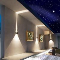 верхние настенные светильники в помещении оптовых-Затемняемый 7 Вт 12 Вт регулируемая поверхность монтируется куб светодиодные настенные лампы алюминия наружного освещения вверх и вниз настенные светильники крытый настенные светильники