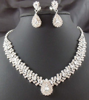 Wholesale Sliver Bridal Jewelry Sets - Dazzliing Rhinestones Bridal Jewelry Sets Necklace & Earrlings Sliver Plated Bridal Jewelry Cheap Wedding Accessories Formal Event