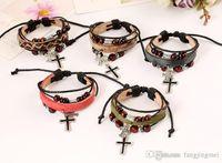 Wholesale Cross Bracelet Rope - Pure manual bracelet Leather accessories The cross cowhide alloy bracelet with leather bracelet Rope buckle with both men and women