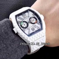 Супер Clone Luxury Limited Edition FM Vanguard Backswing Хронограф Силиконовый Ant-shock Golf White Bezel Sport Мужские часы White Rubber FM85B