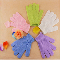 Wholesale Gloves Skin - Wholesale- 5pcs Shower Gloves Exfoliating Wash Skin Spa Bath Gloves Foam Skid Resistance Body Massage Cleaning Scrubber Bathing Accessories
