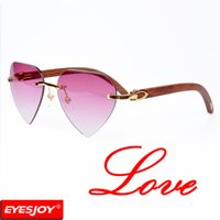 Wholesale high quality wooden boxes - buffalo horn sunglasses Heart & oval lens Rimless sunglasses Frame High Quality Mens Women sun glasses with red glasses box