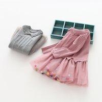Wholesale Girls Wool Lace Dress - 2018 Baby Girls Knit Lace Dresses Babies Princess Pearl Dress Kids Girls Winter Long sleeve Dress Kids Christmas Clothing