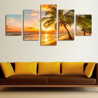 Wholesale Beach Sheets - Unframed Fashion 5 Piece Sunset Seascape Inclued Coco Beach Modern H Wall Art HD Picture Canvas Print Painting For Living Room Decor