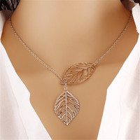 Wholesale Small Leaf Necklace - Women New Fashion Vintage Punk Silver Gold Color Hollow Two Leaf Pendant Necklace Chunky Statement Chain Necklaces Charm Jewelry Small Gift