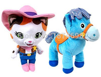 Wholesale Cute Stuffed Horse Toys - Wholesale- 2PCS Sheriff Callie's Wild West Toy Sheriff Callie Cat and Horse Sparky 20cm Plush Stuffed Animals Cute Kids Toys for Girls