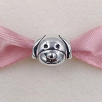 Wholesale Dog Coin Silver - Authentic 925 Sterling Silver Beads Friendly Dog Charm Fits European Pandora Style Jewelry Bracelets & Necklace 791707 Animal