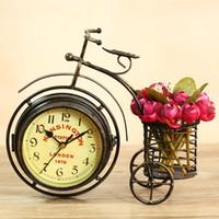 benzersiz bisikletler toptan satış-Toptan-Benzersiz bağbozumu klasik dövme demir bisiklet masaüstü saati Dubleks saat yüz dilsiz ev dekorasyon bağbozumu masa saati horloge