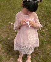 Wholesale Girls Formal Wear Wholesale - Lace Flower Girl Dresses For Summer Garden Weddings Knee Length bows half sleeve Kids Formal Wears Girls Birthday Dresses T0273