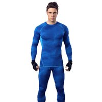 Wholesale Stretch Long Sleeve - Male autumn and winter sports cycling fitness suit long sleeves trousers basketball running training stretch fast dry tight