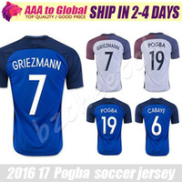 Wholesale Top Men Shirt Shipping - Top Quality POGBA soccer shirts 2017 Soccer jersey Home Away Maillot De Foot Antoine Griezmann 16 17 shirt Francaise jersey free shipping