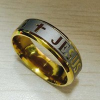 Wholesale Bibles High Quality - High quality large size 8mm 316L Titanium Steel 18K silver gold plated jesus cross Letter bible wedding band ring men women