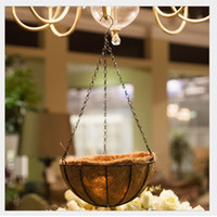 Wholesale Decorative Wall Baskets - Flower Hanging Basket Wrought Coconut Flowerpot Rattan Decorative Pots Wall Iron Garden Balcony Home Planter 20cm ZA3335