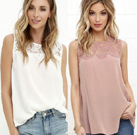 Wholesale Lace Chiffon Tank Top - 2017 Free Shipping Summer Women T-Shirt Chiffon Tank Top Blouses Sleeveness Lace Women Clothing With Split Joint