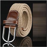 Wholesale stretch woven belt resale online - Fashion Big children Mens Womens Canvas Plain Webbing Metal Buckle Woven Stretch Waist Belt canvas Braided Belts good qulity styles