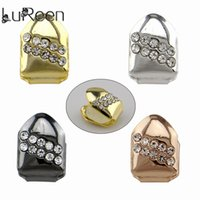 ingrosso bling hip hop caps-LuReen 4 colori Hip Hop Single Top Tooth Grillz 2 Diagonal Righe Bling Bling strass Top Denti Caps