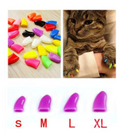 Wholesale Dog Nail Covers - New 20Pcs Lot Colorful Soft products for Pet Dog Cats Kitten Paw Care Claws Control Nail Claw Caps Cover Size