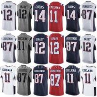 Wholesale England Patriots - Men's New England Jersey Patriot #12 Tom Brady jersey 87 Rob Gronkowski 14 Brandin Cooks 11 Julian Edelman 100% Stitched Jerseys