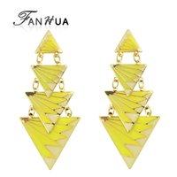 Wholesale India Black Red - FANHUA Triangle Geometric Earrings Irregular Yellow Red Black Enamel Drop Earrings Brincos Women Long Earrings from india