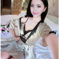 Wholesale Kimono Satin Set - Wholesale- Silk Bathrobe Women Satin Kimono Robes For Women Sexy Negligee Spaghetti Strap Lace Sleepwear Female Silk Robe Sets Homewear Set