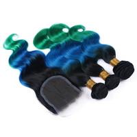 ingrosso tessuto per capelli verde ombre-1B blu verde Ombre 4x4 chiusura frontale in pizzo con 3 bundles onda del corpo vergine peruviana tre toni ombre capelli umani tesse con chiusura in pizzo