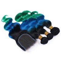 Wholesale Lace Front Hair 4x4 - 1B Blue Green Ombre 4x4 Lace Front Closure With 3Bundles Body Wave Virgin Peruvian Three Tone Ombre Human Hair Weaves With Lace Closure