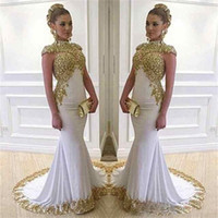 Wholesale Dress Lace Black Woman - Saudi Arabia Mermaid Evening Dresses 2017 Lace Women Wear Shiny Vestido De Festa High Neck Long Cap Sleeve White Dubai Formal Prom Gowns
