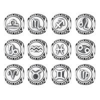 signos del zodiaco vintage al por mayor-Venta al por mayor Pandora Vintage 925 Sterling Silve Aquarius Star Sign Zodiac Beads Charms fit BME Bracelets DIY Doce Constellations