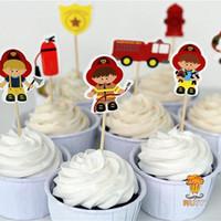 cupcake topper picks großhandel-72 stücke feuerwehrmann kuchen topper cupcake picks fällen feuerwehrmann kindergeburtstagsfeier dekoration babyparty schokoriegel