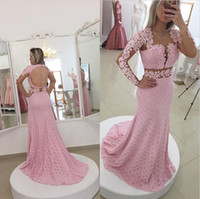 Wholesale Sheer New Years Dresses - 2017 Pink Lace Evening Dresses Open Back With Long Sleeves Mermaid Illusion Prom Gowns New Years Dress For Women