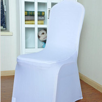 Wholesale Fold Chair Covers - 100 PCS Universal White Polyester Spandex Wedding Chair Covers for Weddings Banquet Folding Hotel Decoration 93*40cm DHL