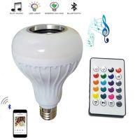 bombilla de luz inteligente bluetooth al por mayor-barato 2 unids E27 bombilla de música inteligente LED RGB Inalámbrico Bluetooth altavoz Bulbo 12 W Música de Potencia Tocando Lámpara de Luz + Mando a distancia