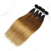 4 Pacote 8A Colorido Ombre Cabelo Humano Weave Silky Straight T4 / 30/27 Brown Lover Peruvian Cambodian Indian Hair Extensions