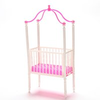 Wholesale Wholesale Kelly Dolls New - 1 Set NEW Small Sweet Baby Crib For Barbie Girls Doll Furniture Kelly Doll's Kids Bed Doll Accessories 11cm*5.5cm*23cm HOT