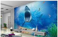 Wholesale great wall decor - High Quality Custom 3d ceiling wallpaper murals wall paper 3D horror great white shark TV backdrop ceiling murals wall living room decor