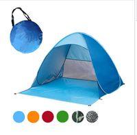 ingrosso tende gonfiabili campeggio familiare-Automatico Tenda aperta Famiglia turistica Pesce Camping Anti-UV Completamente tenda da sole Campeggio Tende da campeggio per 2-3 persone KKA1884