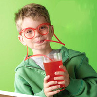Wholesale Novelty Crazy Straw Glasses - Wholesale-Novelty Korean New Fashion Cartoon DIY Crazy Straw Creative Fun Glasses Make Children Fall in Love Drinking Juice For Lover