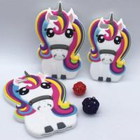 iphone 5c cas de silicone achat en gros de-Nouveau 3D Cartoon Rainbow Unicorn Case Housse en silicone souple cheval blanc pour Apple iPhone SE 5 5S 5C 6 6S 7 7S Plus 5.5