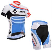 Wholesale Cube Cycling Set - CUBE maillot Ropa Ciclismo Pro Team Cycling Jersey Shorts Bib Sleeve Set Quick Dry Bicycle Clothing Bicicletas Bike Sportswear