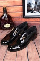 Wholesale Italian Luxurious Brand Buckle Male Dress Shoes Men Slip On Wedding Shoes Bright Genuine Leather Black Loafers EU Size