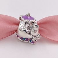 Wholesale Patriotic Charms - Authentic 925 Silver Beads Disny Mrs. Potts Chip Charms Fits European Pandora Style Jewelry Bracelets Necklace Beauty and the Beast Set