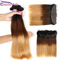 Full Head 4 Piece Straight Malaysian Ombre Weaves Bundles With Closure Cheap T1B / 4/27 Fermeture Ear-Ear Earrings Earrings avec des paquets