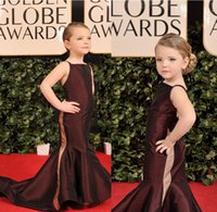 Wholesale Swift Celebrity - 2017 Fashion Mermaid Girls Pageant Dresses Burgundy Taffeta Girls Celebrity Dresses Sweep Train Mini Taylor Swift Flower Girls Party Dresses