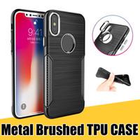 cubierta de botones para celular al por mayor-Estuche para iPhone X 8Plus 8 7 6 TPU cepillado, suave, resistente, amortiguador, cubierta posterior con botón electrochapado para teléfonos celulares Samsung