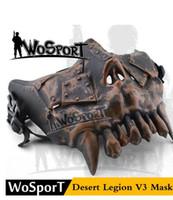 kullanılan askeri toptan satış-Moda WoSporT Çöl Legion V3 Maske Yarım Yüz Çelik Net yumuşak Açık Oyun Askeri Kullanım Eğitim Koruyucu Maske, ucuz erkek Phantom maske