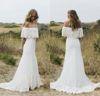 Wholesale Bohemian Off Shoulder Dress Chiffon - 2017 New Sexy Boho Country Style Wedding Dresses Off the Shoulder Lace Chiffon Bohemian Wedding Gowns Plus Size Bridal Dresses